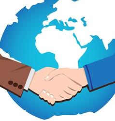 Handshake icon of businessmen worldwide vector