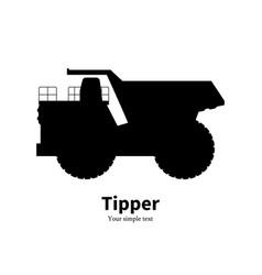 black silhouette dump truck vector image