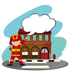 Firemen working at the fire station vector image vector image