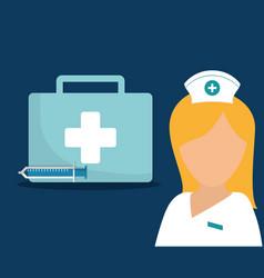 nurse kit first aid syringe medical vector image vector image