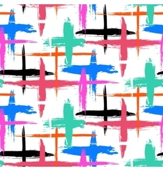 Pattern with brushstrokes and crosses vector image vector image