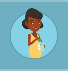 woman putting dollar money into glass jar vector image