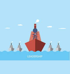 businessman is controlling a red ship to lead vector image vector image