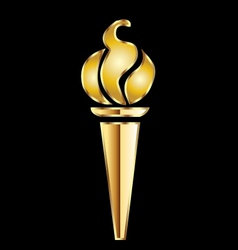 Golden torch flame vector image vector image