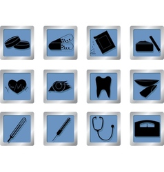 medical icons on square buttons vector image vector image