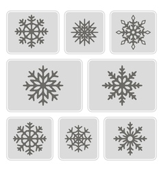 monochrome icons with snowflakes vector image vector image