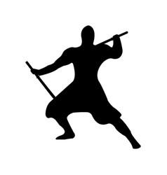 ninja warrior silhouette on white background vector image vector image