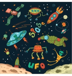 Outer space design elements vector