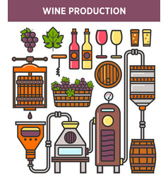 wine production factory or winery winemaking vector image vector image