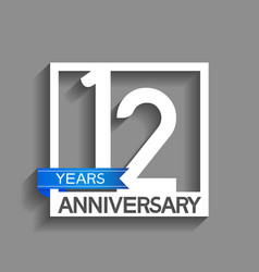 12 years anniversary logotype with white color vector