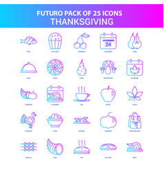25 blue and pink futuro thanksgiving icon pack vector