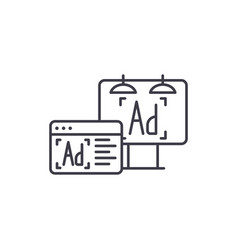 advertising line icon concept advertising vector image