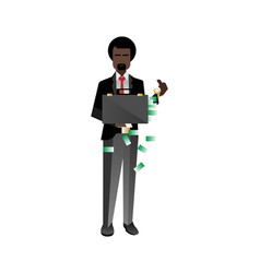 African bearded investor holding money suitcase vector