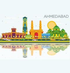 Ahmedabad skyline with color buildings blue sky vector