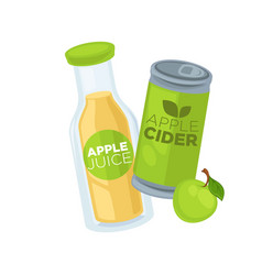 Apple juice and cider in glass bottle and can vector