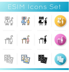 Babysitting services icons set mom look vector