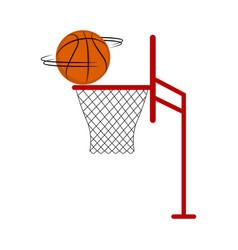 basketball ball spinning on a net vector image