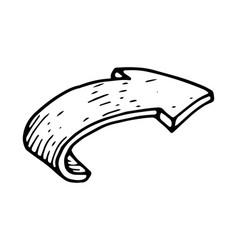 Bent arrow hand drawn sketch vector