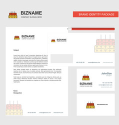 birthday cake business letterhead envelope and vector image