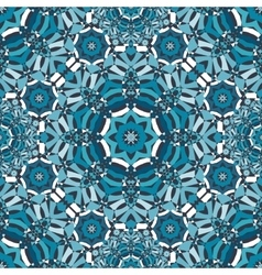 Blue floral kaleidoscope pattern vector