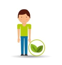 boy cartoon save earth icon leaf plants vector image
