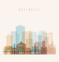 Bucharest skyline detailed silhouette transparent vector