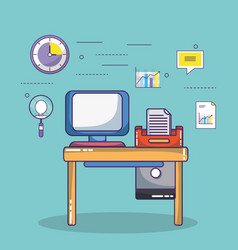 business office workspace supplies cartoon vector image