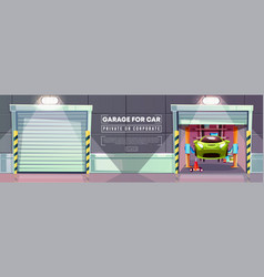 Car garage repair station roller shutters vector