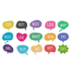 cartoon chat words set vector image