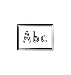 Chalkboard with abc letters hand drawn sketch icon vector
