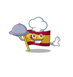 Chef with food flag spain isolated in cartoon vector