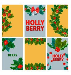 christmas decorative berry leaves holly branches vector image