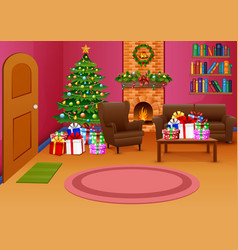 Christmas living room with pink nuanced vector