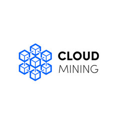 cloud blockchain cryptocurrency logo vector image