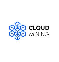 cloud blockchain cryptocurrency logo vector image