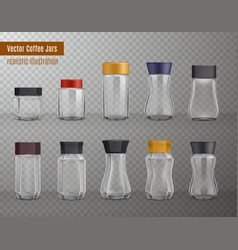 coffee jars realistic transparent vector image