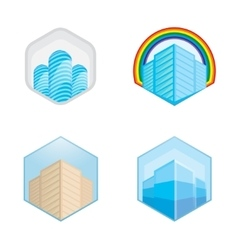 Colorful real estate city and skyline icons vector image