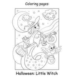 Coloring page cute little witch flying vector