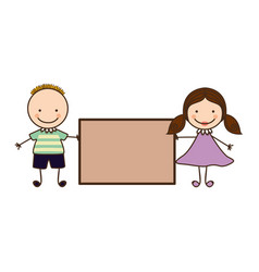 Couple boy and girl with card vector