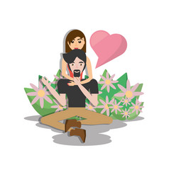 Couple lovely sitting floor with flowers vector