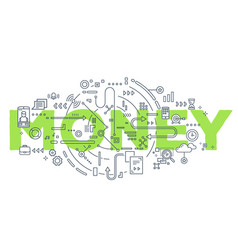 creative of green money word vector image
