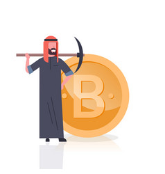cryptocurrency mining concept arab man with vector image