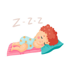 Cute cartoon baby in a blue bodysuit sleeping in vector
