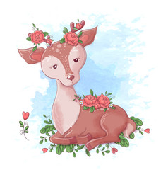 cute cartoon deer with roses in horns vector image