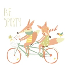 Cute couple foxes ride tandem bicycle vector image