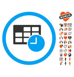 date and time icon with love bonus vector image