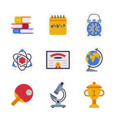 different school stationery and supplies set vector image
