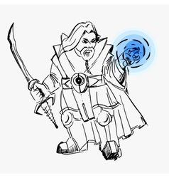 Dwarf warrior magician line drawing vector