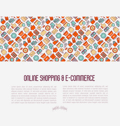 E-commerce shopping concept with thin line icons vector