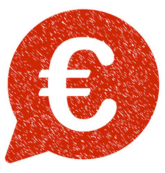 Euro message bubble icon grunge watermark vector